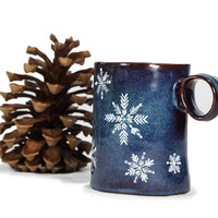 Hand Painted Ceramic Mug Navy Blue Winter Snowflakes Rustic Coffee Mug Minimal Kitchen Decor
