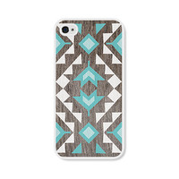 Geometric iPhone 5 Case - Plastic iPhone 5 Cover - Wood Tribal Southwest iPhone 5 Skin - Turquoise Brown White Cell Phone - For Him