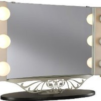 Amazon.com: Starlet Table Top Lighted Vanity Mirror 34&quot; - Black: Office Products