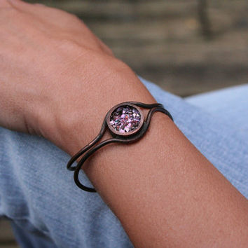 Custom Order Your Bismuth and Copper Cuff Bracelet - Iridescent Crystal, 6 Colors Available