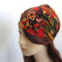 Holiday Floral Headband Women&#x27;s Head Wrap Black Red Yellow Green Bandana Festive Hair Accessory