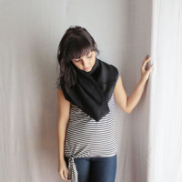 Black wool cowl neck warmer - cowl neck wool scarf infinity cowl scarf