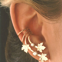 A Pair of Maple Leaves & Cubic Zirconia Long Gold Vermeil Ear Cuff Earrings