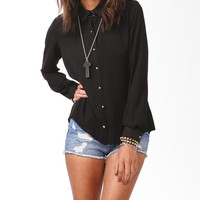 Metallic Polka Dot Chiffon Blouse
