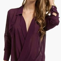 NWT PURPLE SHEER POCKET CHIFFON DEEP V NECK COLLAR LONG Sleeve Top Blouse Tunic