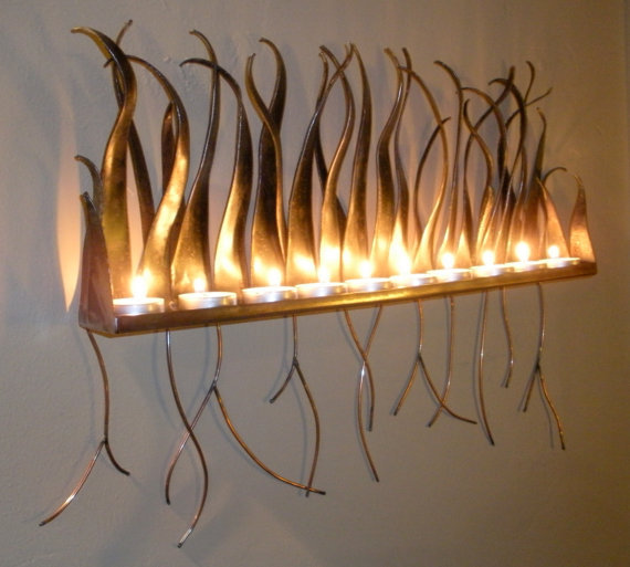 Metal Candle Holder - Wall Sconce For from AuraWaterfalls on Etsy