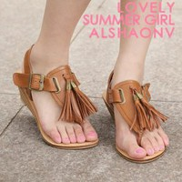 New Arrival Retro Tassel Brown Ladies Sandals : Wholesaleclothing4u.com