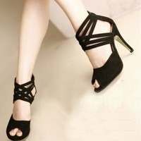 Black Summer Stylish Waterproof Open Toe Pumps : Wholesaleclothing4u.com