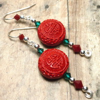 Red Cinnabar and Swarovski Red and Green Crystal .925 Dangle Earrings