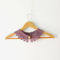 Plum Lace Collar Necklace - Peter Pan Collar - Irish