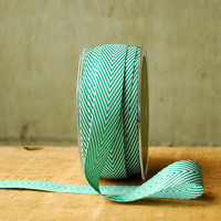 Spearmint Green and White Chevron Ribbon 1 yard Vintage Style Twill Tape Candy Cane Stripe Spearmint