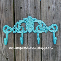 Metal Wall Hook /Aqua /Bright Shabby Chic Decor /Ornate Hanger /Key Holder /Bathroom Fixture /Bedroom /Laundry /Nursery