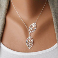 Gift, Filigree Leaf Jewelry, Silver Leaf Necklace, Silver Lariat Necklace, Leaf Pendant, Skeleton Leaf, Woodland Jewelry, leaf charm  N-2