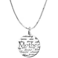 "Amazon.com: Sterling Silver ""Mom, Understanding, Warm, Wise, Strong, Loving, Sweet, Devoted, Beautiful, I Love You"" Circle Graffiti Pendant Necklace , 18"": Jewelry"