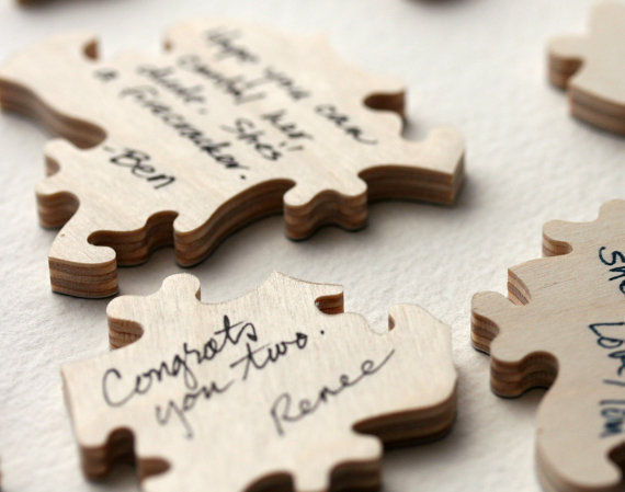 WOOD Wedding Puzzle Guest Book A guest book by BellaPuzzlesToo