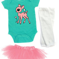 3 Piece Aqua & Pink Fawn One Piece, Tutu & Leg Warmer Set