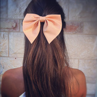 Unique peach Pink BIG hair bow