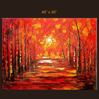 Sunset Park 40 x 30 Original Oil on Canvas Painting by MilenART