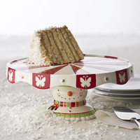 Snowman Footed Cake Plate - Horchow
