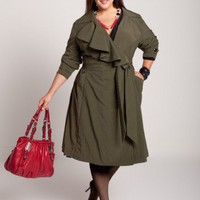 Plus Size Rainy Day Trench Coat in Olive by IGIGI