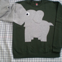 NEW Elephant Trunk sleeve sweatshirt sweater jumper KiDS S,M Olive Green