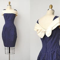 vintage 1960s dress / cocktail polka dot dress / bow detail 60s dress / Annual Fete Dress