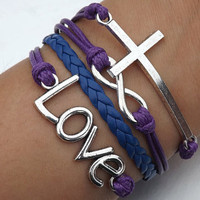 bracelet - antique silver bracelet cross bracelet LOVE bracelet, purple wax cord and leather braided bracelet