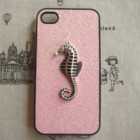 Steampunk Seahorse bling glitter hard case For Apple iPhone 4 case iPhone 4s case cover