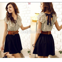 Korean Women Summer New Fashion Short-sleeve Dots Polka Waist Dress BE0D