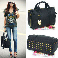 Black Korea Clutch Messenger Tote Women's Satchel PU Leather Shoulder bags
