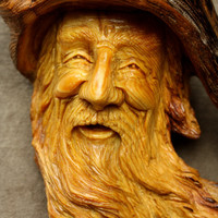 Wood Spirit Wood Carving Christmas Gift for Dad, Log Cabin Decor Anniversary Gift on etsy by Gary Burns the Treewiz, Handmade Woodworking