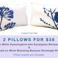 Limited Time Sale 2 Cobalt Blue Print on Off White Bird Pillows for 38 US Dollars
