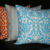 Turquoise &amp; Orange Pillows Decorative Pillows TRIO damask 18x18 inches Modern Throw Pillow Covers 18&quot; aqua, tangerine, natural