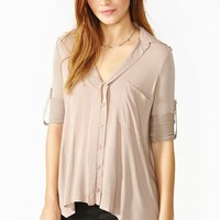 Draped Pocket Blouse - Taupe