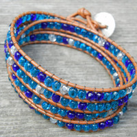 Beaded Leather 4 Wrap Bracelet with Turquoise Toned Czech Glass Beads