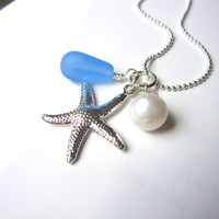 Starfish Necklace with Baby Blue Sea Glass & fresh water pearl - Something Blue - Bridesmaids Necklace in Beach or Destination Wedding