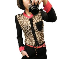 Amazon.com: Allegra K Woman Leopard Print Sheerness Long Sleeve Buttoned Blouse M: Clothing