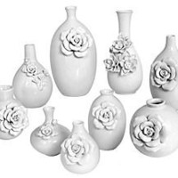 One Kings Lane - Winter Wonderland - S/9 Ceramic Vases, White
