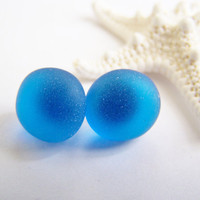 Cobalt Blue SEAGLASS stud earrings - a perfect gift - Summer - bridesmaids - weddings - sale