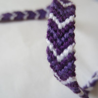 Chevron Friendship Bracelet - Purple and White
