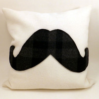 Plaid Mustache Pillow cover,  grey and black plaid on cream, Pendleton wool, appliqué