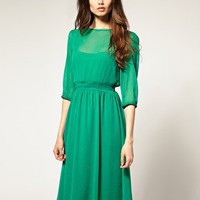 ASOS | ASOS Midi Dress In Soft Chiffon at ASOS