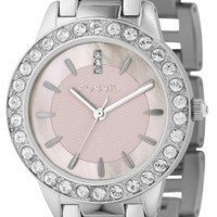 Fossil Women's ES2189 Stainless Steel Bracelet Pink Mother-Of-Pearl Glitz Analog Dial Watch