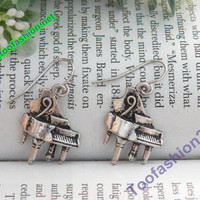 Pretty retro silver piano earrings pendant vintage style