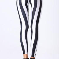 ROMWE | Black-White Stripe Leggings, The Latest Street Fashion