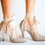 Nude Ostrich Feather Ankle Cuff