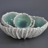 Set Of 3 Copper Blue Nesting Scallop Bowls - Ceramic Porcelain Textured Bowls  Beach Coastal Decor
