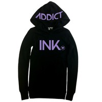 Women's INK Black/Lavender Thermal Hoody by InkAddict