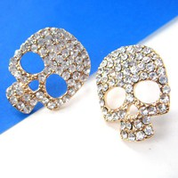 Skull Skeleton Stud Earrings Rocker Chic with Rhinestones from Dotoly Love