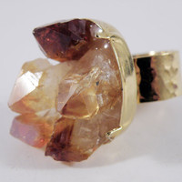 Gold Plated Citrine Cluster Ring by Nu Bambu